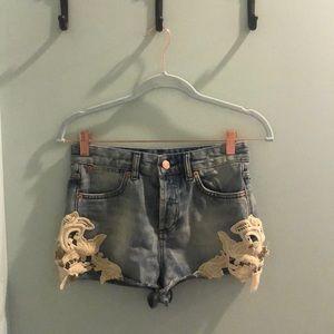 Moto Denim Jean Shorts with Lace High Waist